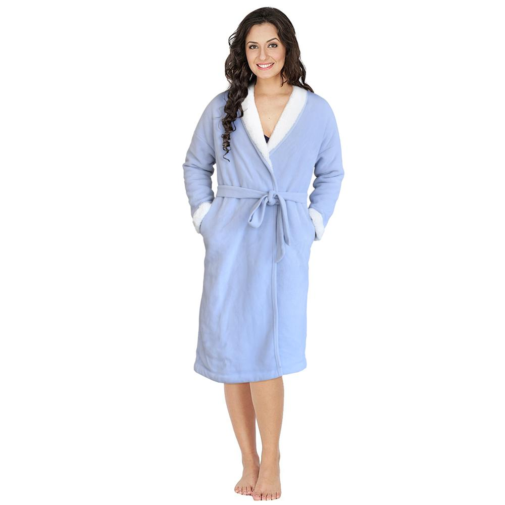 Queen'd Micro Polar Fleece Sherpa Lined Lounge Penny Gown Women's Sleep Wear Sunshine China S