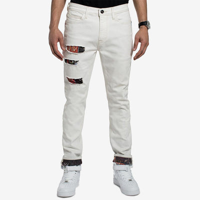 SNJ Basquiat Ripped Printed Slim Straight Fit Stretch Denim Men's Denim SRK 32 30