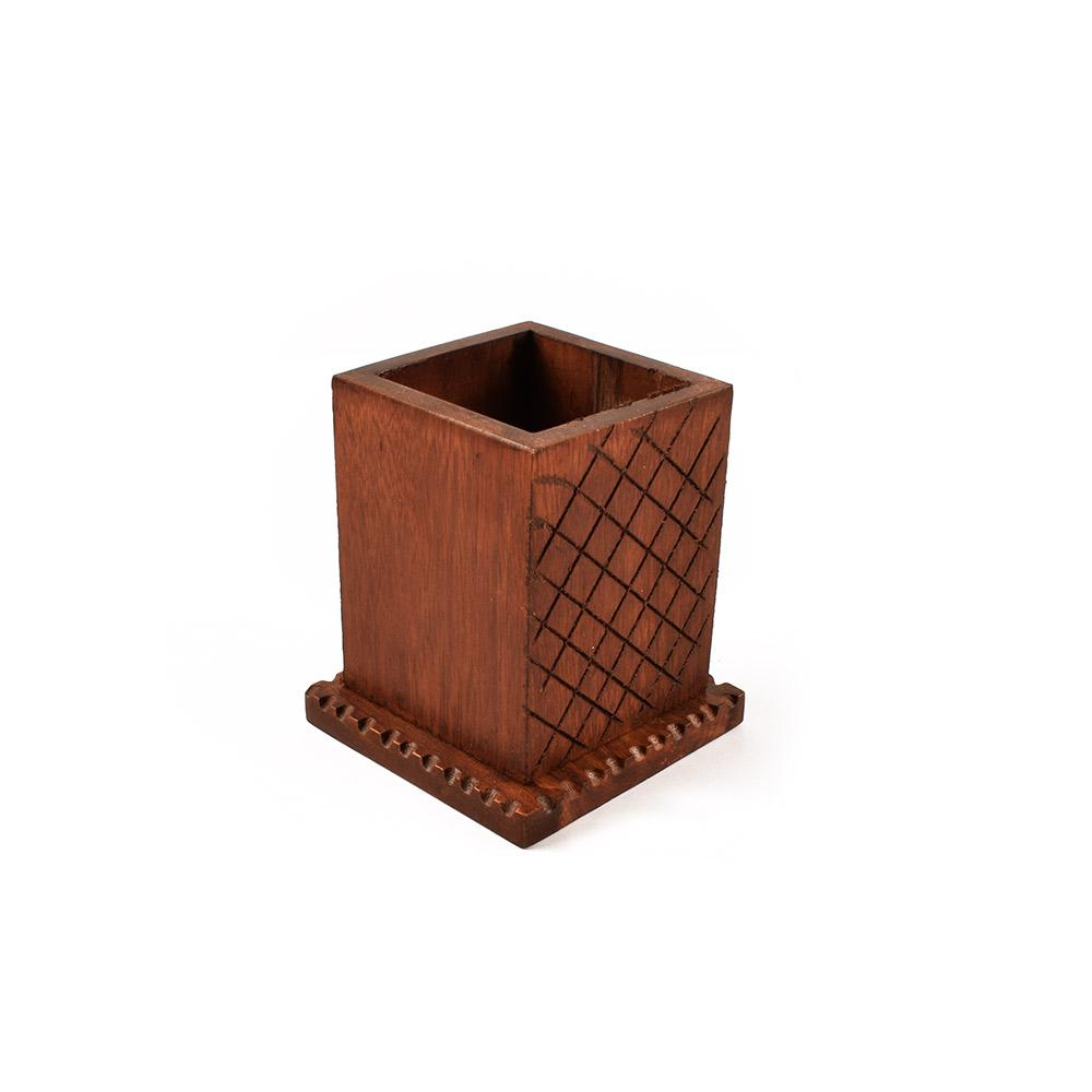Square Design Handmade Multi Purpose Use Wooden Pencil Pot Home Decor SAK
