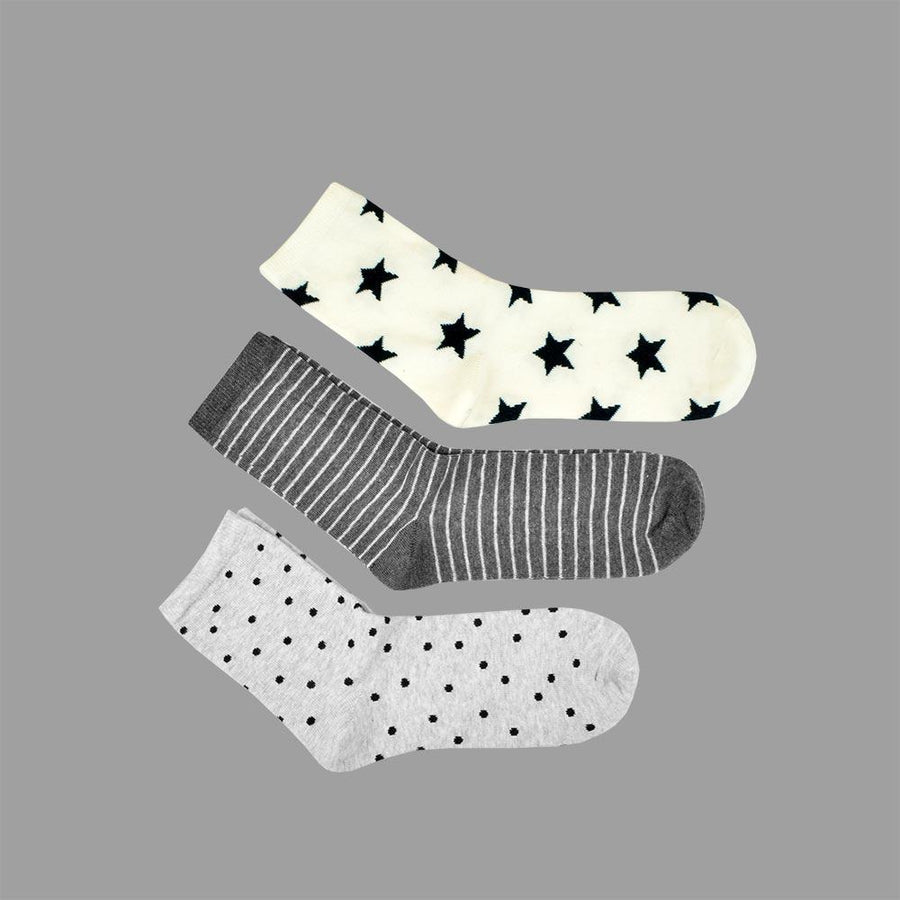 Unisex 3 pair Shining Stars Regular Assorted Socks