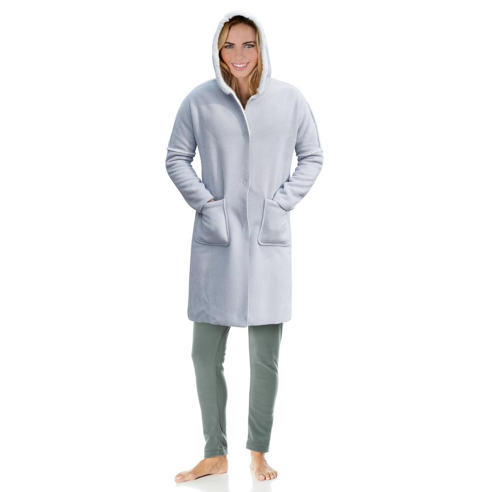Queen'd Micro Polar Fleece Sherpa Lined Button Gown Women's Sleep Wear Sunshine China S