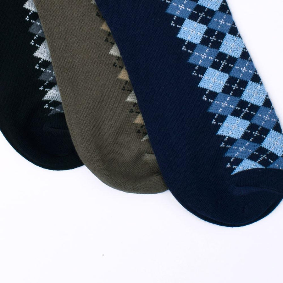 Mouzay Romford Three Pair No Show Assorted Socks