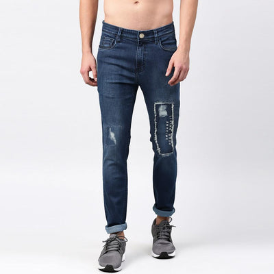 GS Distressed Patched Myron Skinny Denim Men's Denim AGZ Dark Blue 30 30