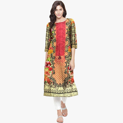 Tabarka Digital Printed Embroidered Unstitched Lawn Kurti Women's Un Stitched Kurti URA