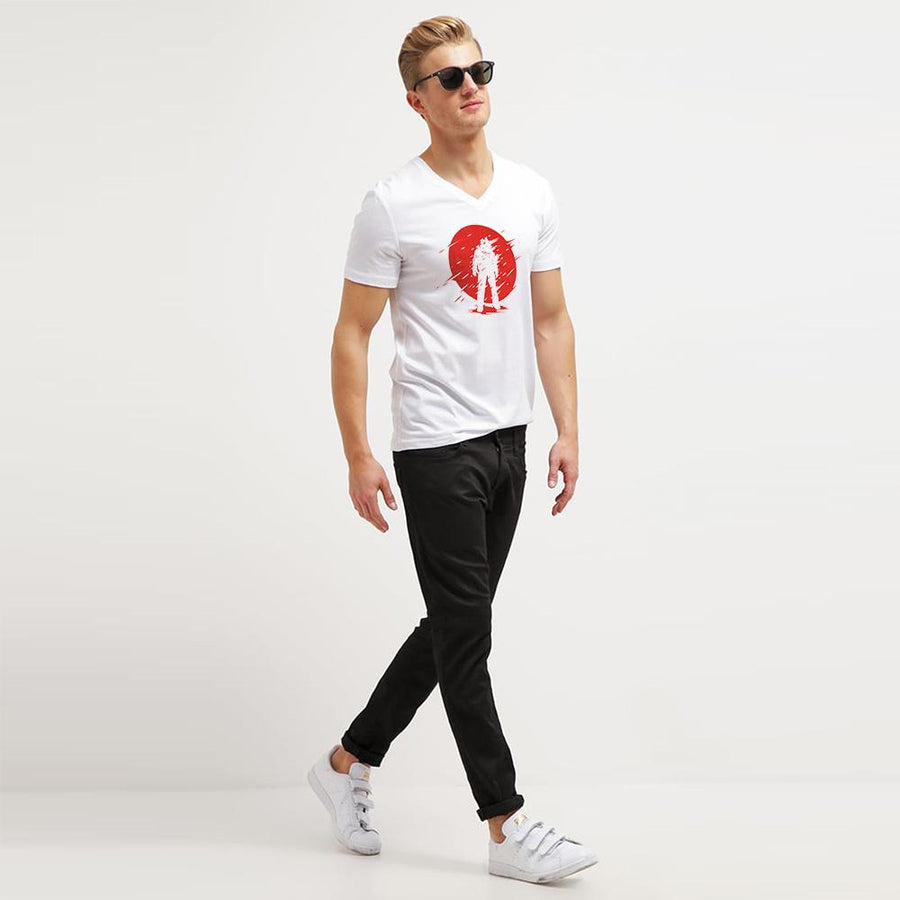 LE To The Moon V Neck Tee Shirt