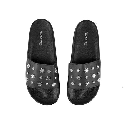 Water Fish Silnate Stones Upper Slippers Women's Shoes Hpral Black EUR 35