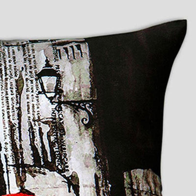 Araish Red Umbrella Printed Cushion Cover