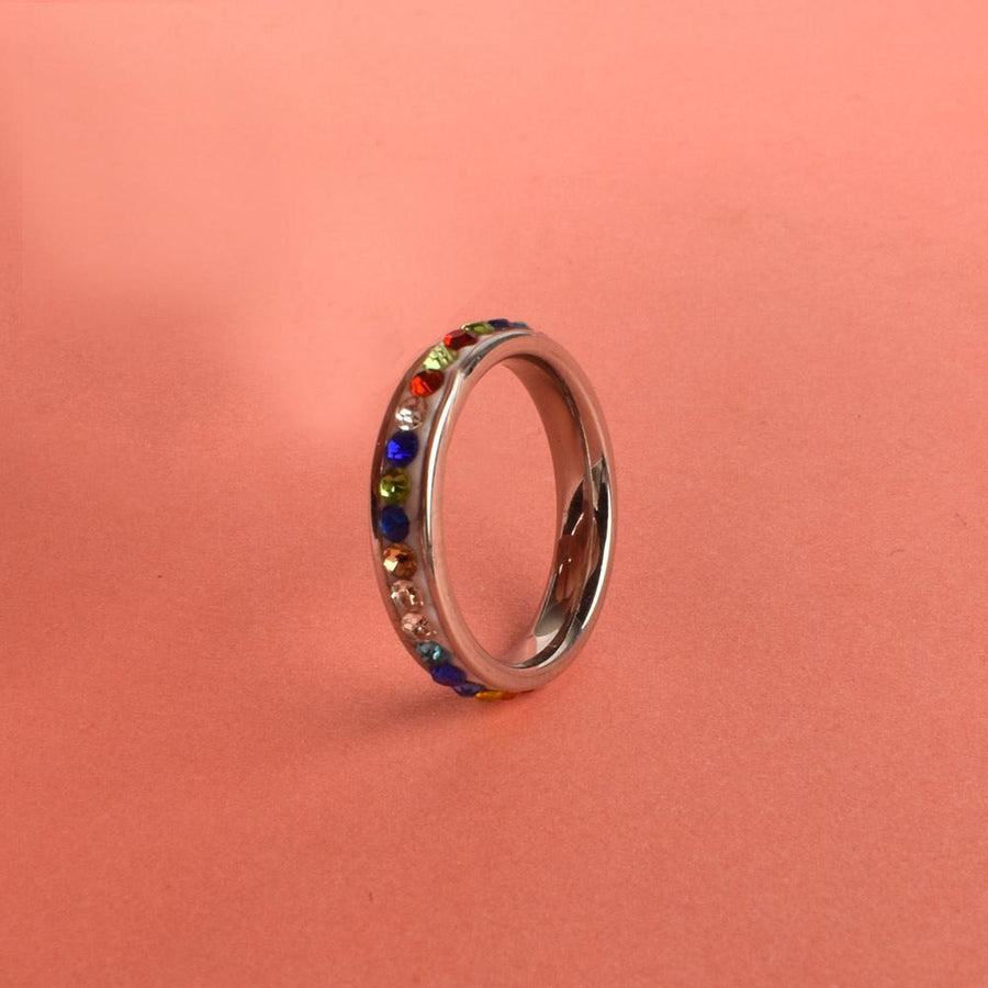 Multi Colors Rhinestone Inlay Ring