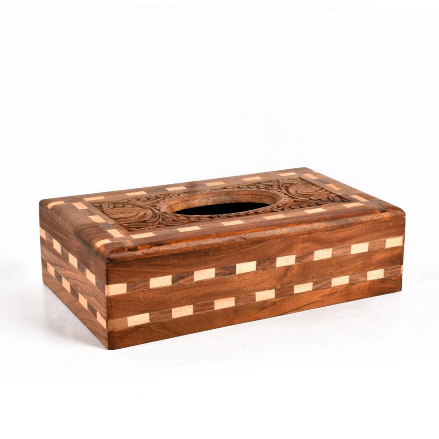 Vestfold Hand Made Chess Design Wooden Tissue Box