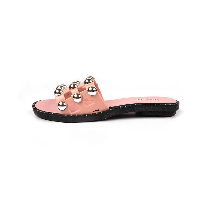 Water Fish Round Button Rivets Grid Slippers