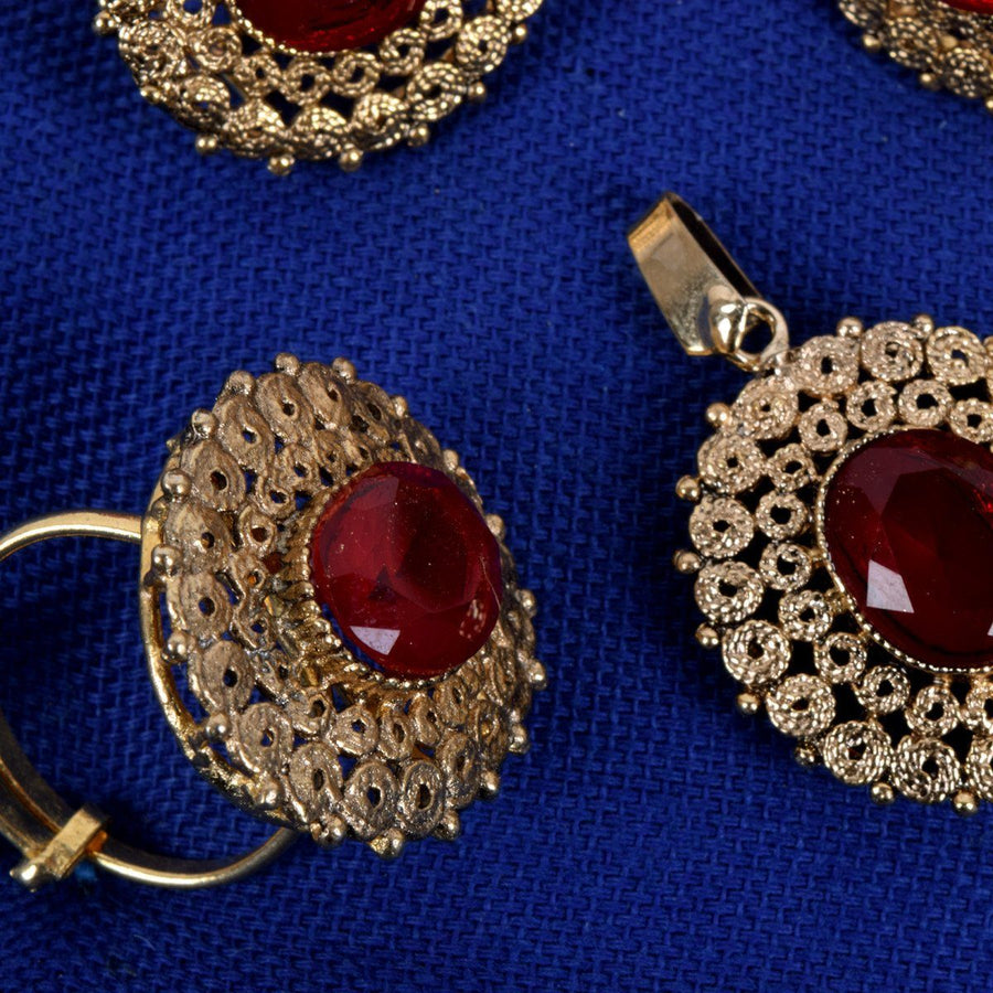 Ruby Red Handmade Crafted Earring with Pendant Set - ExportLeftovers.com