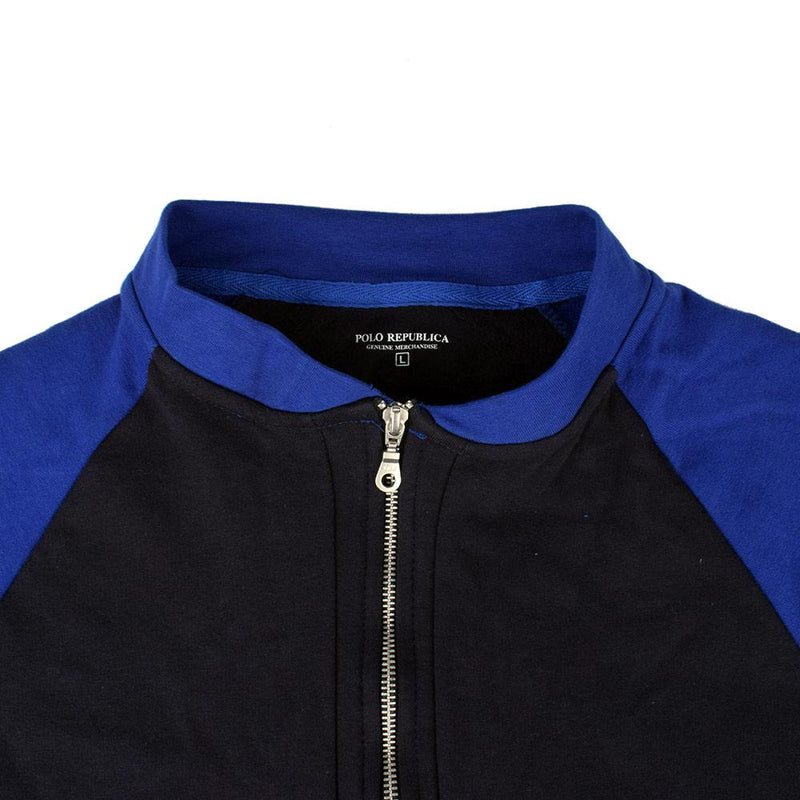 Polo Republica Contrast Raglan Sleeve Zipper Sweat Shirt Men's Sweat Shirt Polo Republica Navy Royal S