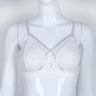 Women Sexy Corset Hollow See Through Lace Flowers Bra Women's lingerie Sunshine China White XL