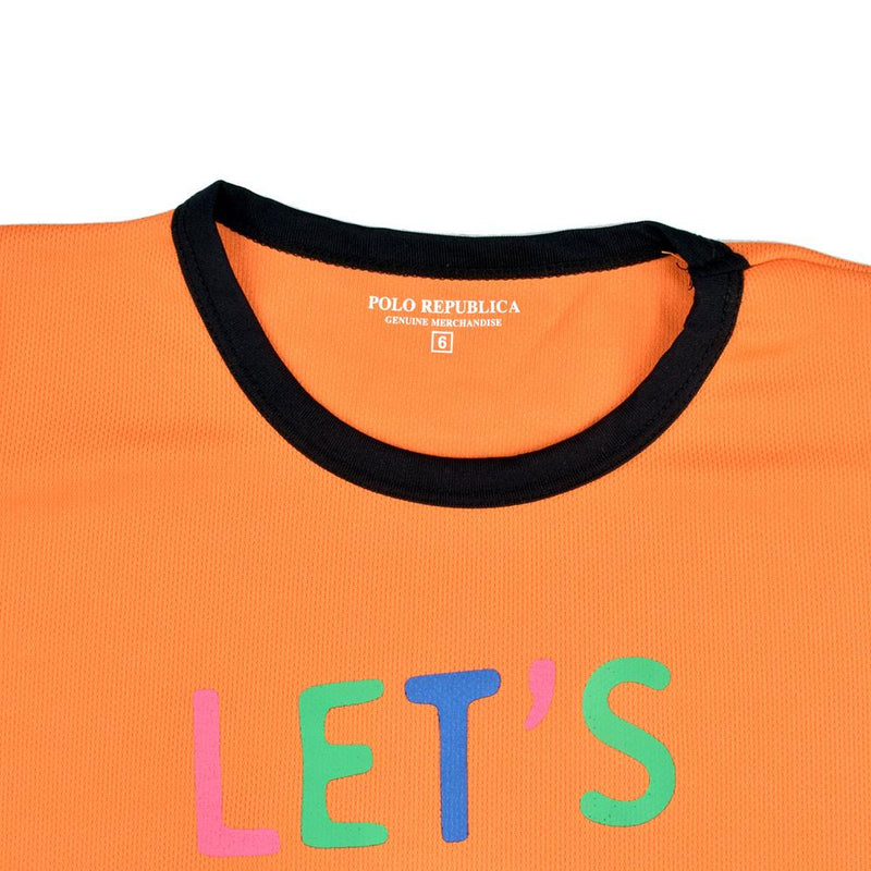 Polo Republica Let's Play Ringer Tee Shirt Boy's Tee Shirt Polo Republica Orange 2 Years