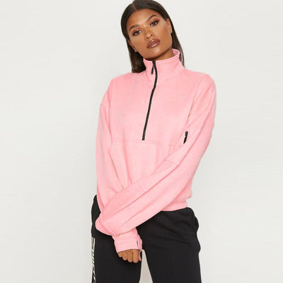 PLT Women's Fleece Quarter Zipper Sweat Shirt Women's Sweat Shirt AGZ Light Pink S