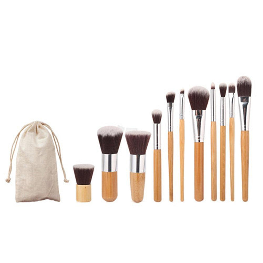 Bamboo Handle Flat Round Foundation Brush Beauty Tools Set of 11