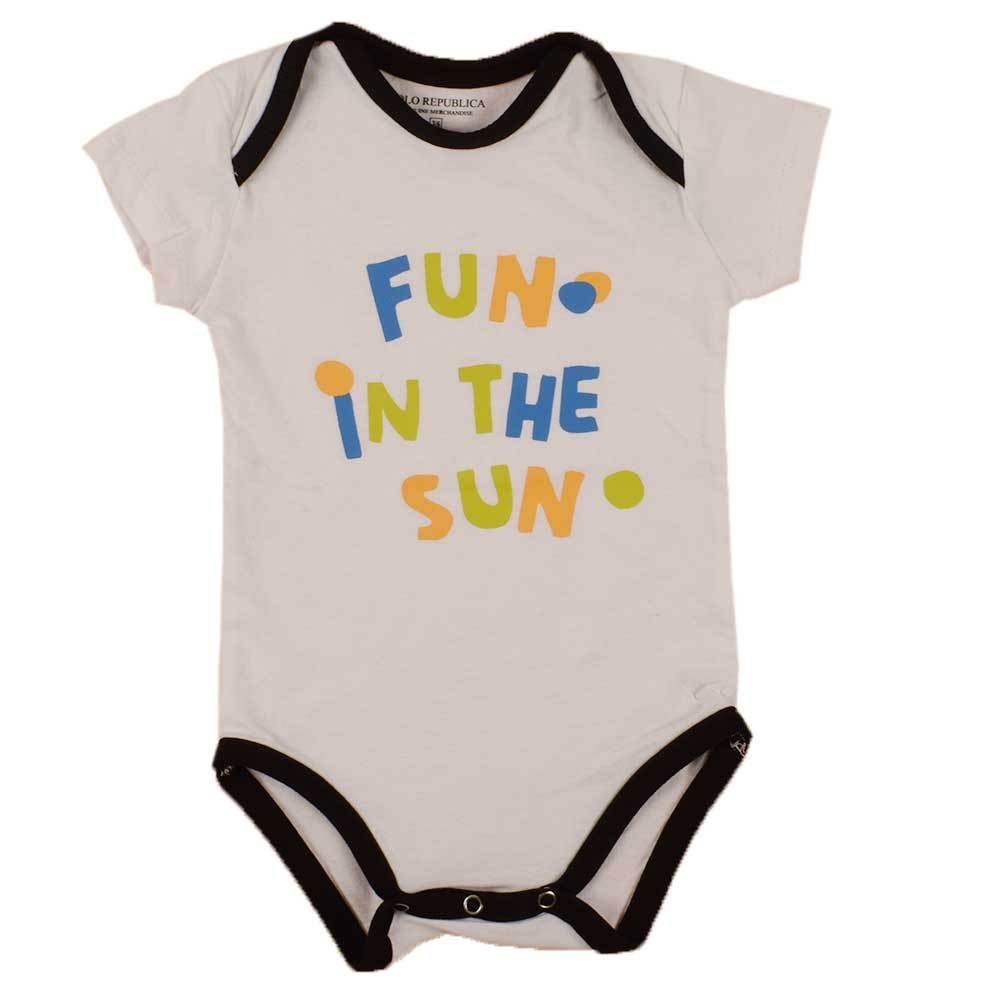Polo Republica Kid's Fun In The Sun Short Sleeve Romper Babywear Polo Republica White Black 0-3 Months