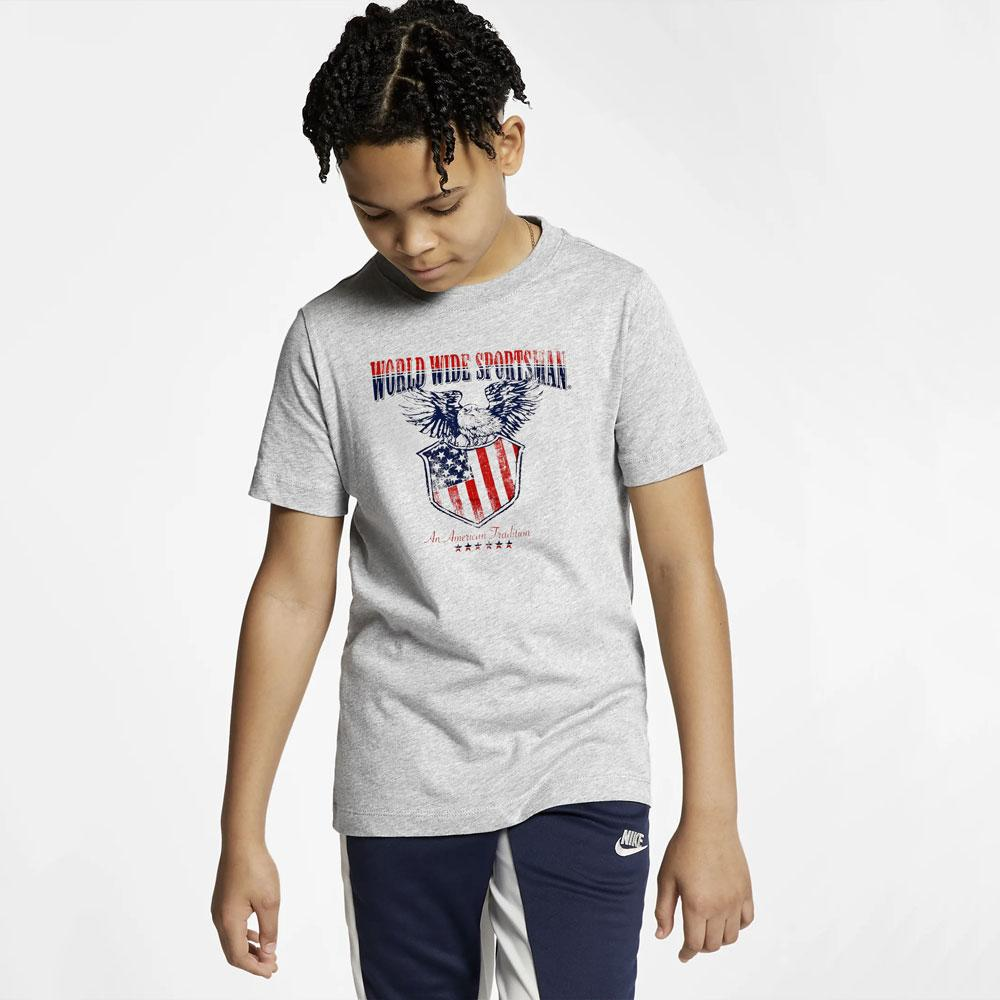 BPS World Wide Sportsman American Tradition Kid's Tee Shirt Boy's Tee Shirt MAJ Heather Grey 2T