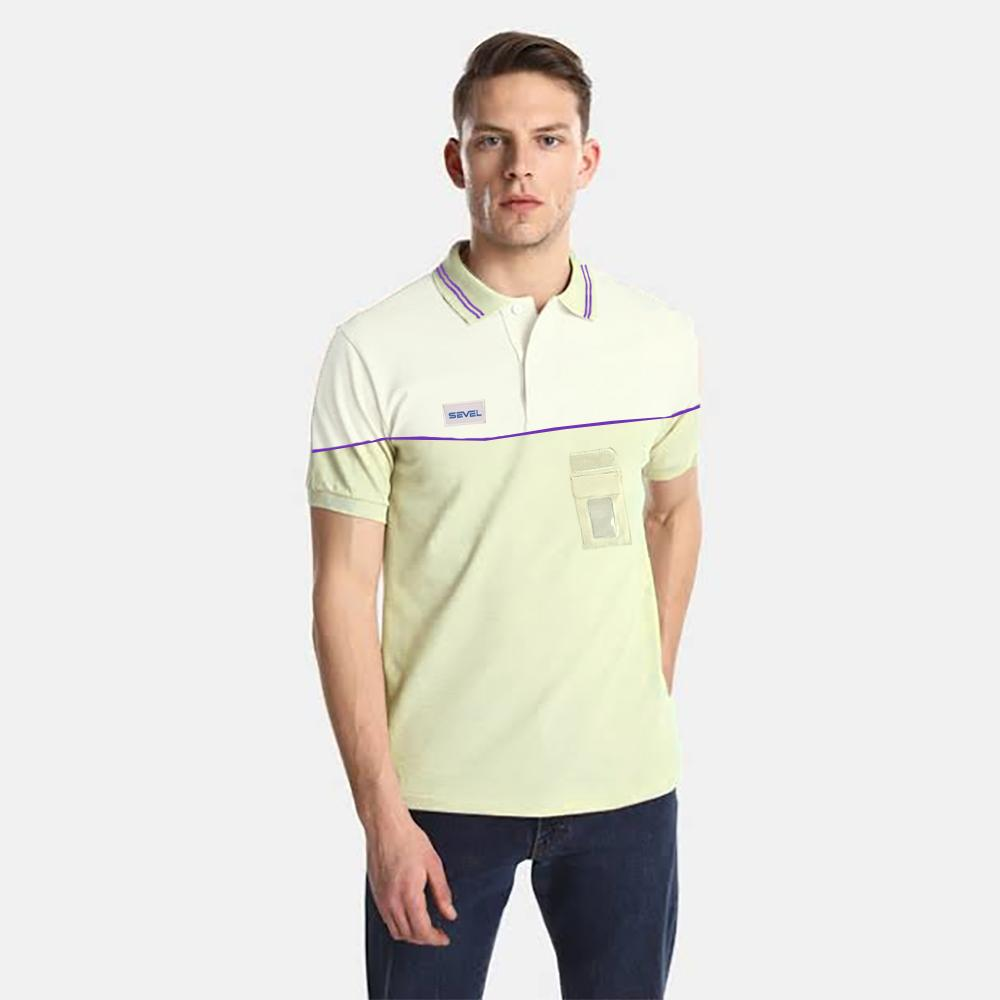 SVL Men's Sleek Pique Polo Shirt Men's Polo Shirt NMA Beige White S
