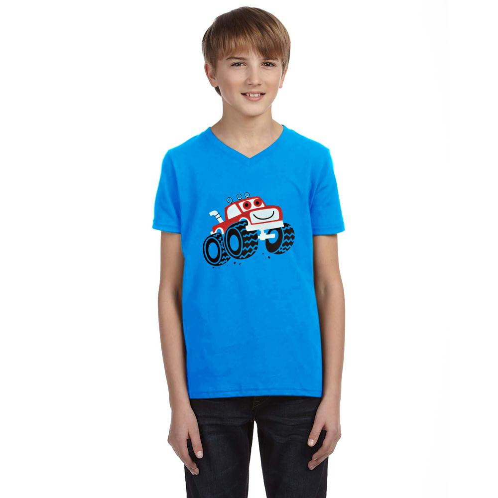 HM Monster Truck Kid's Classic V-Neck Tee Shirt Boy's Tee Shirt First Choice Blue 2-3 Years