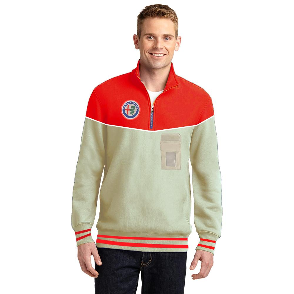 AFR Men's 1/4 Zipper Posh Sweatshirt Men's Sweat Shirt NMA Beige Red XS