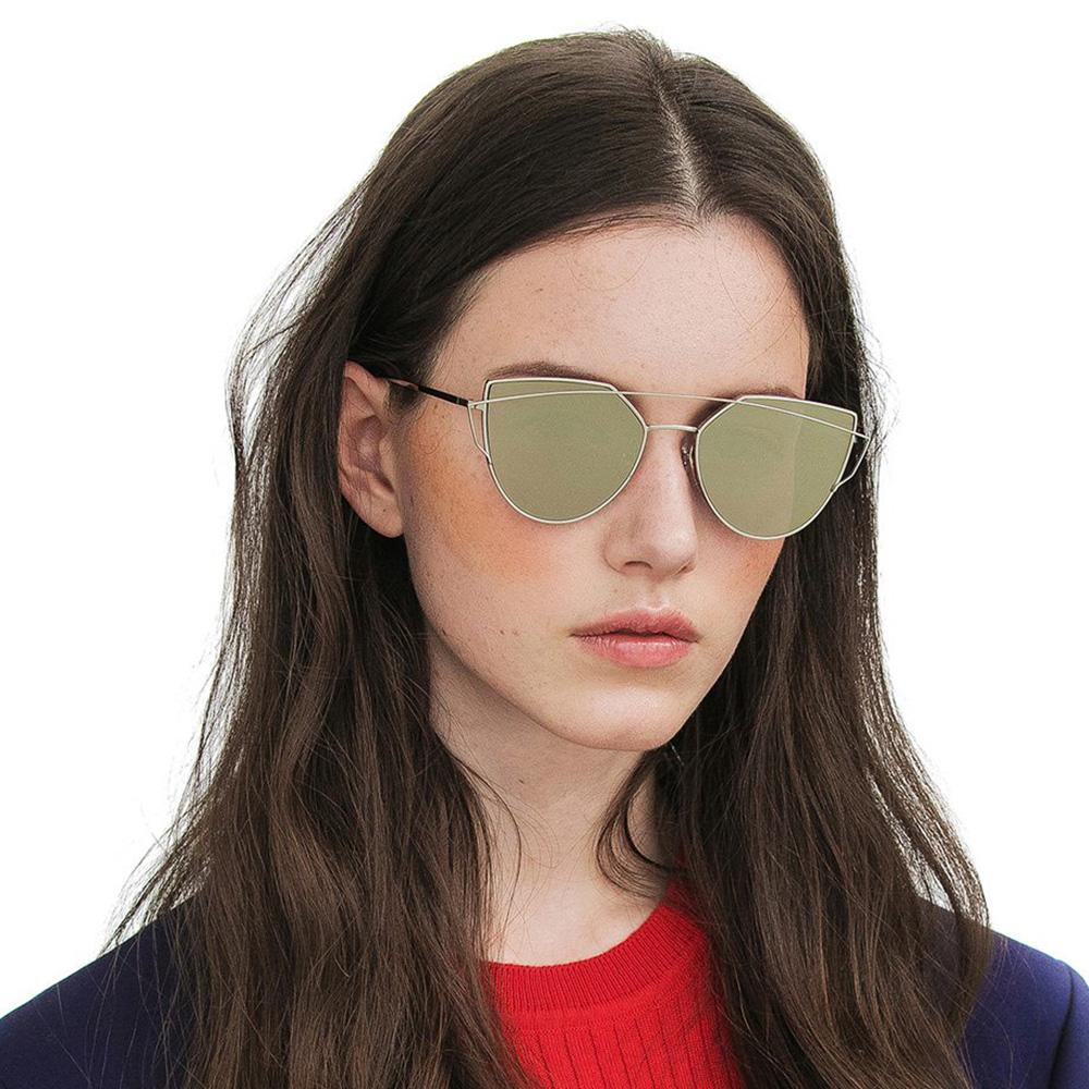 Fashion Women Cat Eye Sunglasses Coating Mirror Lens Sun glasses UV400