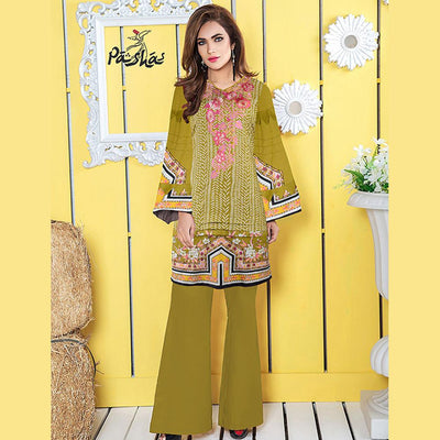 Pasha Floral Texture Baguio Embroidered Stitched Printed Linen Kurti Women's Stitched Kurti Pasha Regular