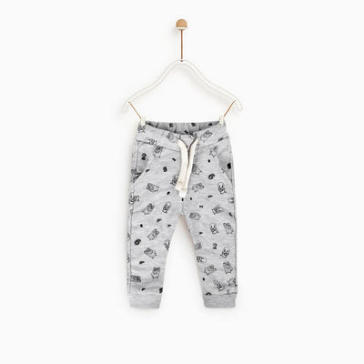 ZR Baotou Plush Text Kids Terry Jogger Pants Boy's Trousers First Choice 3-6 Months
