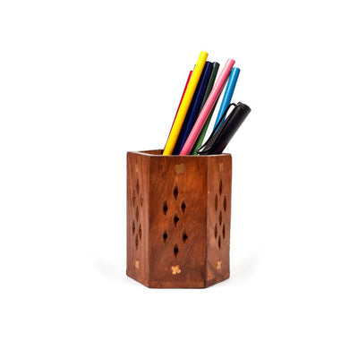 Hancrafted Wooden Multi Purpose Use Pencil Pot