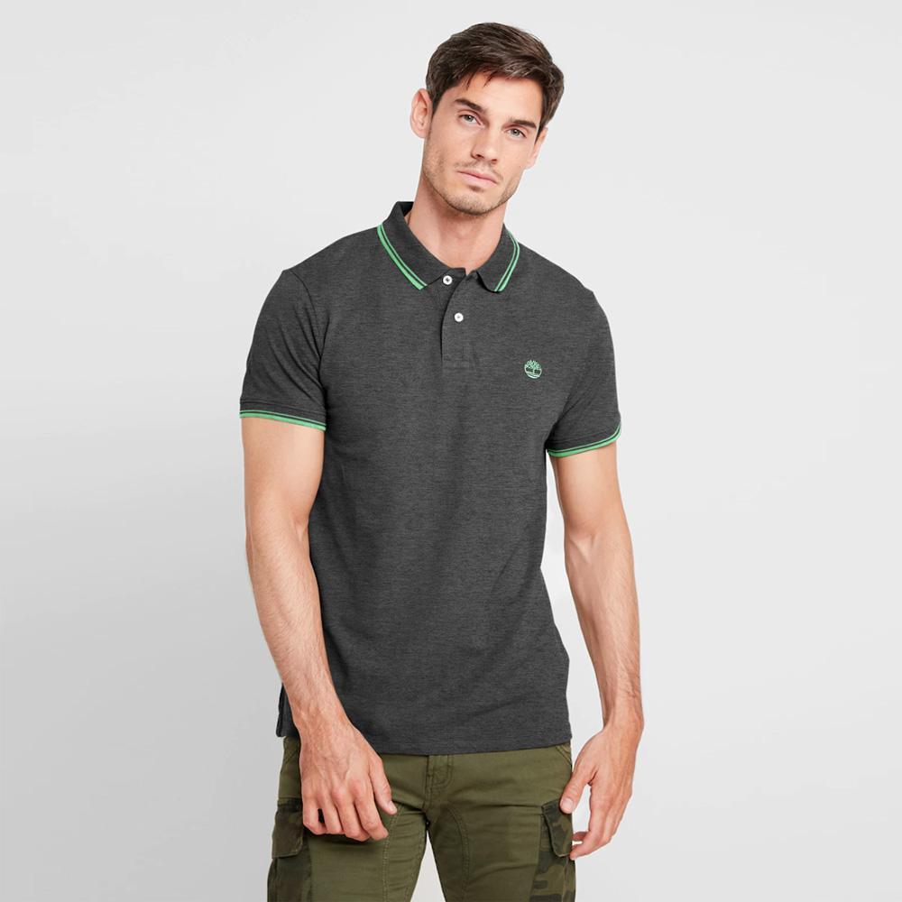 Timberland Men's Slim Fit Embro Pique Polo Shirt Men's Polo Shirt Fiza Charcoal S