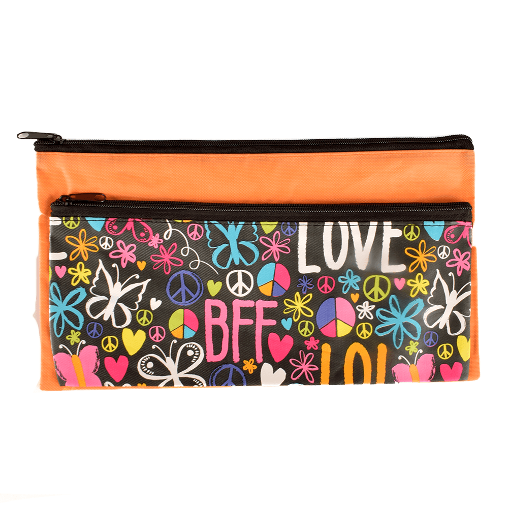 HDY Kid's Massive Storage Double Zip Stationary Pouch Stationary & General Accessories HDY Orange