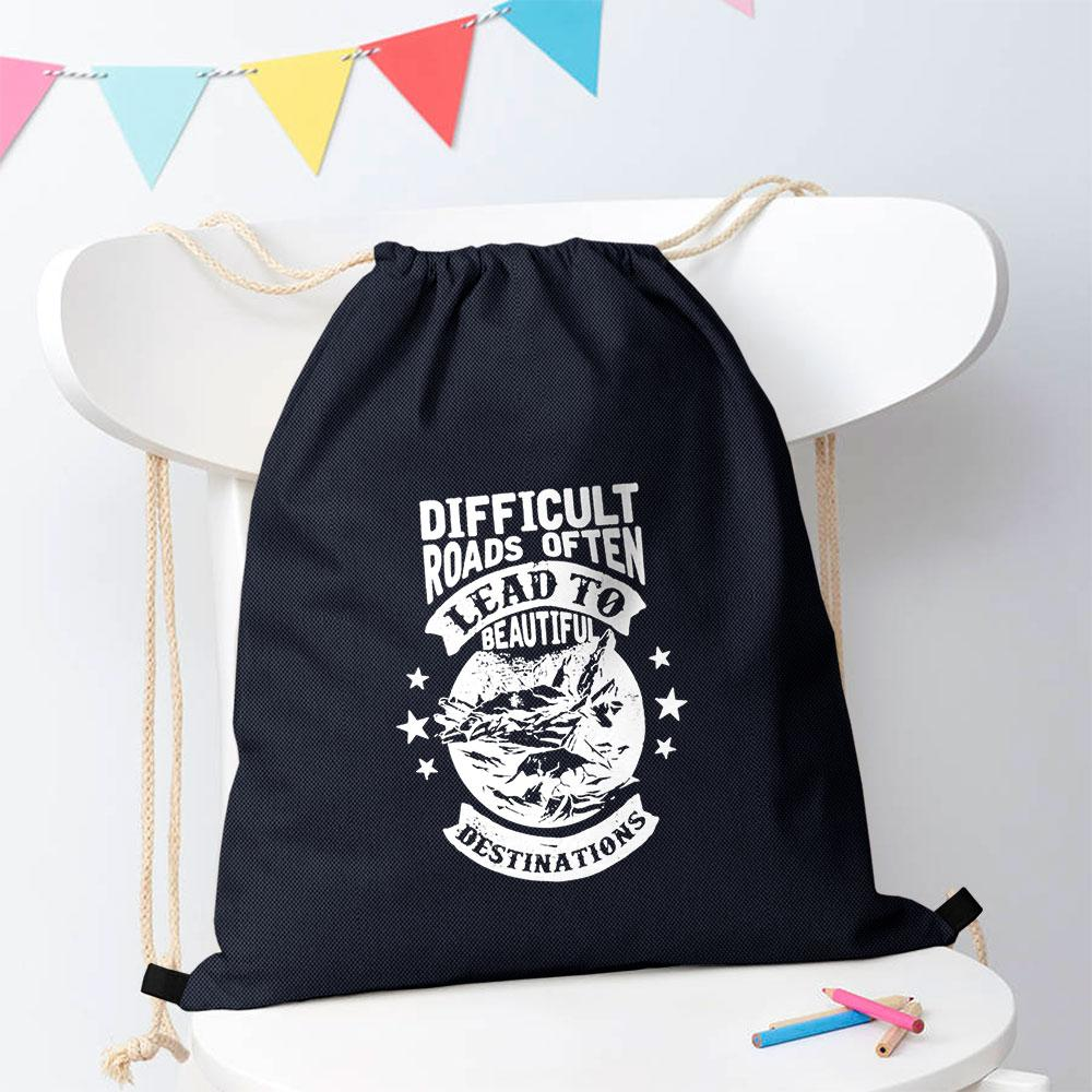 Polo Republica Difficult Roads Lead To Beautiful Destinations Drawstring Bag Drawstring Bag Polo Republica Navy White