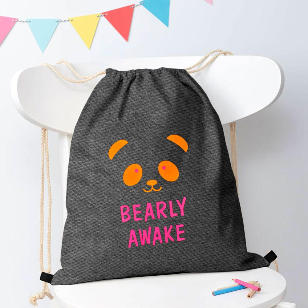 Bearly Awake Vaslui Drawstring Bag Drawstring Bag Polo Republica Charcoal Orange