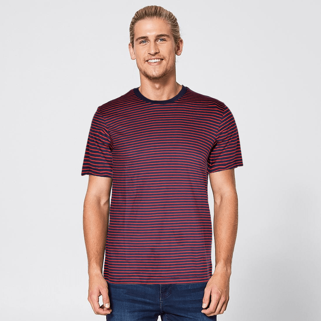 Pull&Bear Dazzling Stripes Crew Neck Tee Shirt