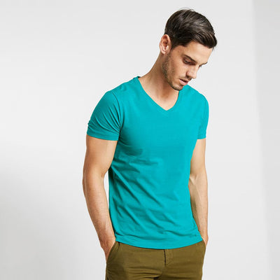 CSG Fabriciano V Neck Men's Solid Tee Shirt Men's Tee Shirt First Choice Turquoise S