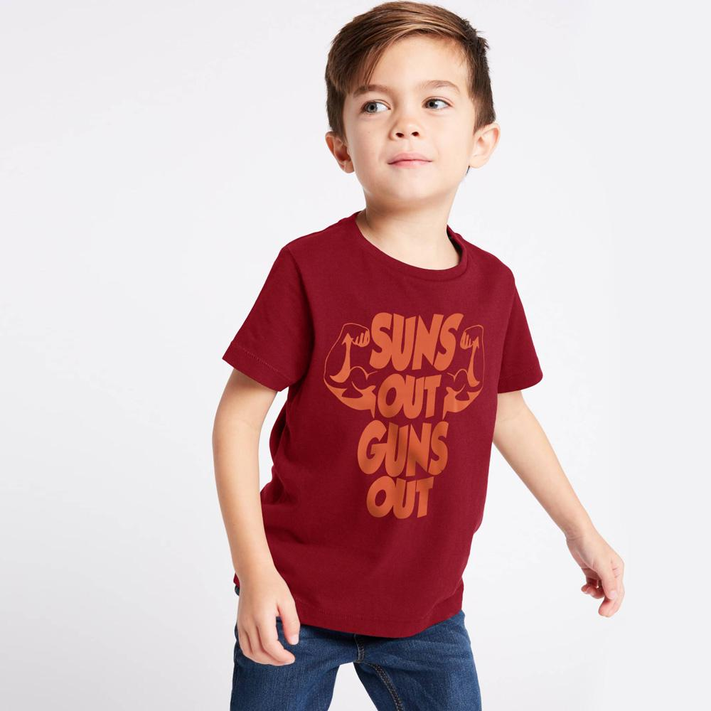 HM Suns Out Guns Out Kids Tee Shirt Boy's Tee Shirt First Choice Light Burgundy 6-9 Months