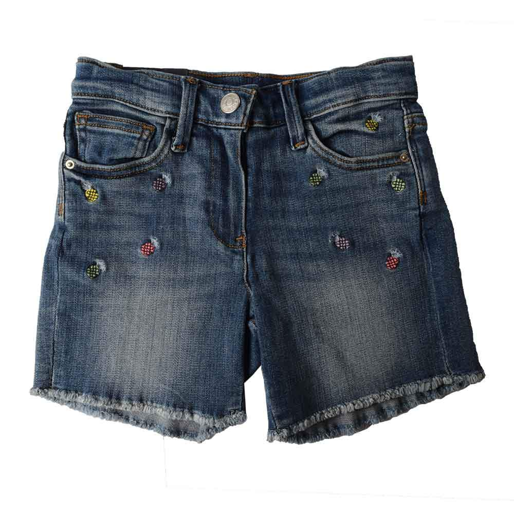 JCW Girl's Ananas Fringed Edged Denim Shorts Kid's Shorts SRK Blue 2-3 Years