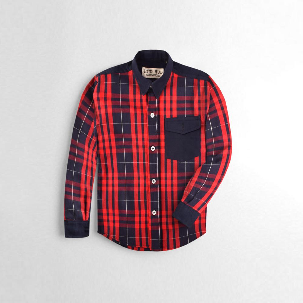 24d9aaa892d6 Hud Hud Collections Boys Check Design Casual Shirt Boy's Casual Shirt MAJ  Red 2 Years