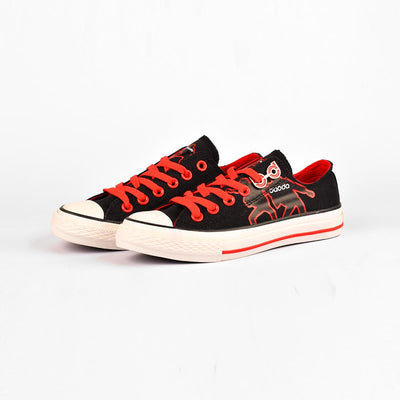 Baoda Women Fashion Wuzhou Printed Lace Up Canvas Shoes Women's Shoes AGZ Black EUR 35