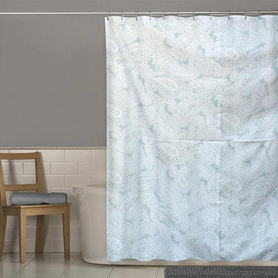 TMH Leaf Texture One Piece Washroom Curtain Curtain MB Traders Sea Green