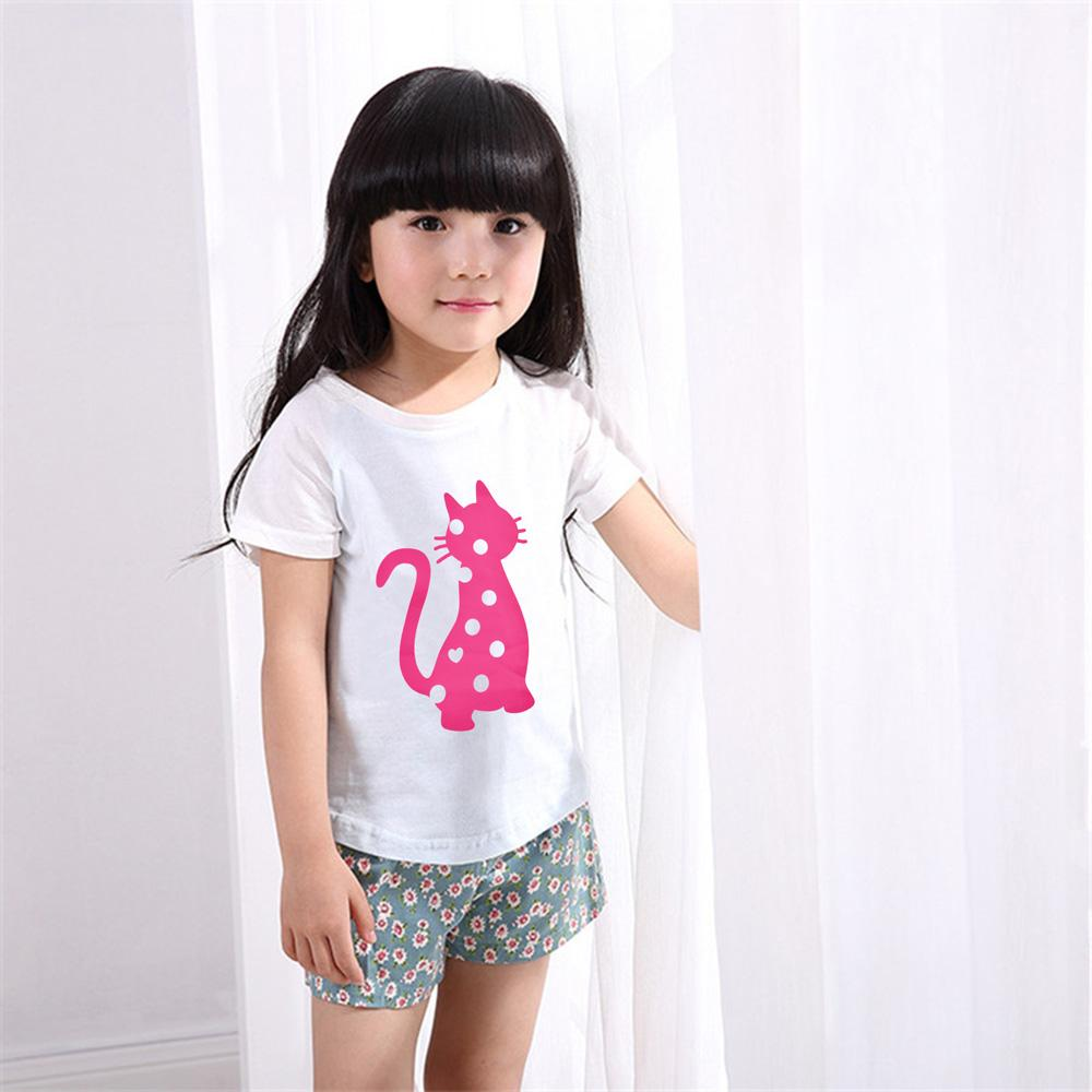 White Cat Print Tee Shirt for Kids