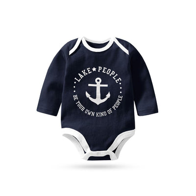 Polo Republica Lake People Long Sleeve Pique Baby Romper Babywear Polo Republica Navy White 0-3 Months