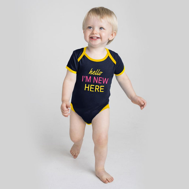 Polo Republica Hello I Am Here Pique Short Sleeves Baby Romper