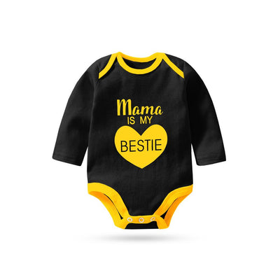 Polo Republica Mama Is My Bestie Pique Baby Romper Babywear Polo Republica Black Yellow 0-3 Months