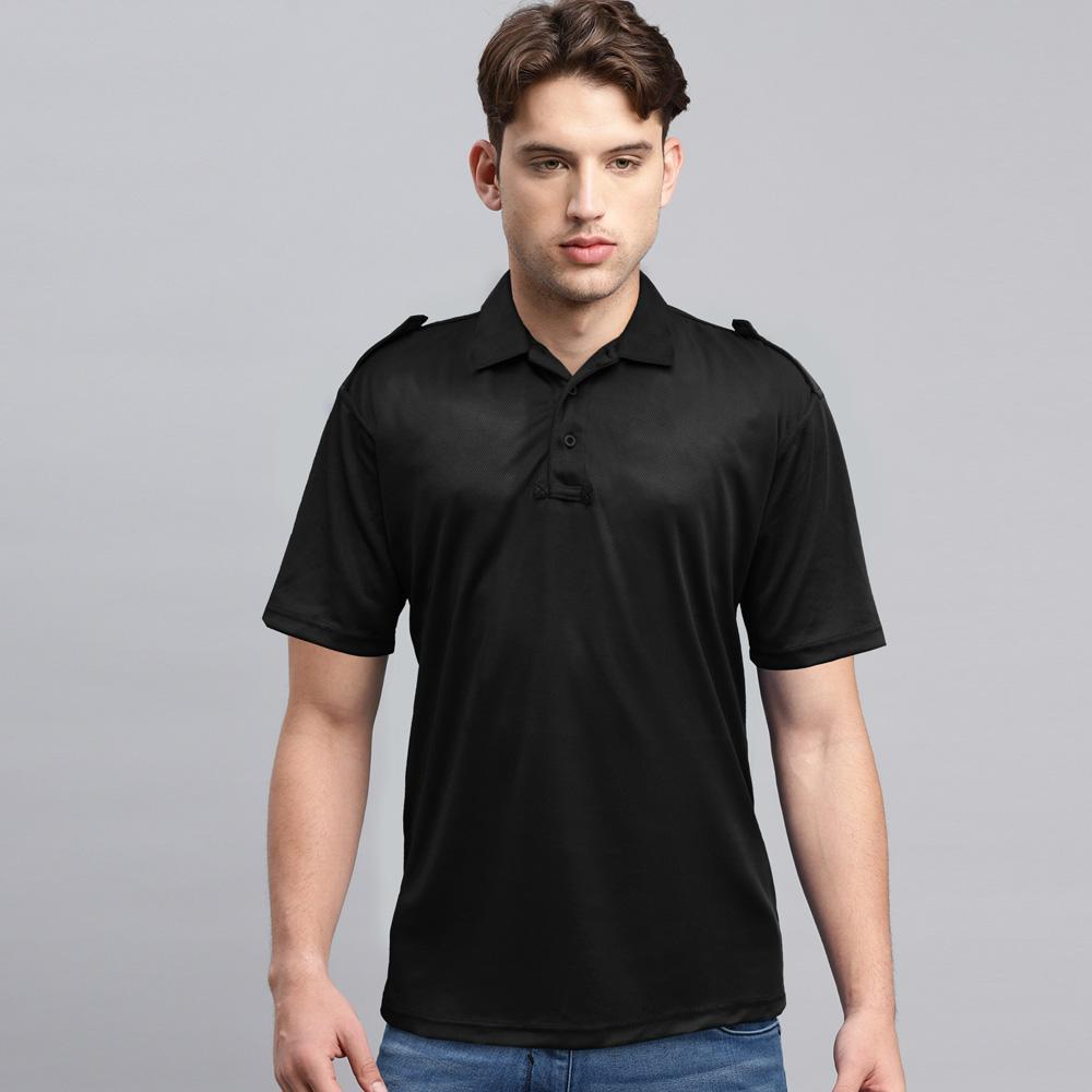 FRLD Men's Polyester Mesh Polo Shirt Men's Polo Shirt Image Black XS