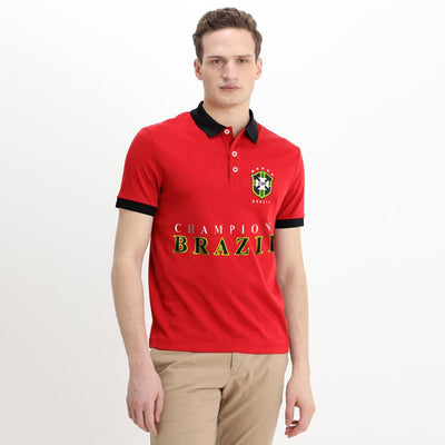 Polo Republica Brazil Champions Polo Shirt Men's Polo Shirt Polo Republica Red Black S