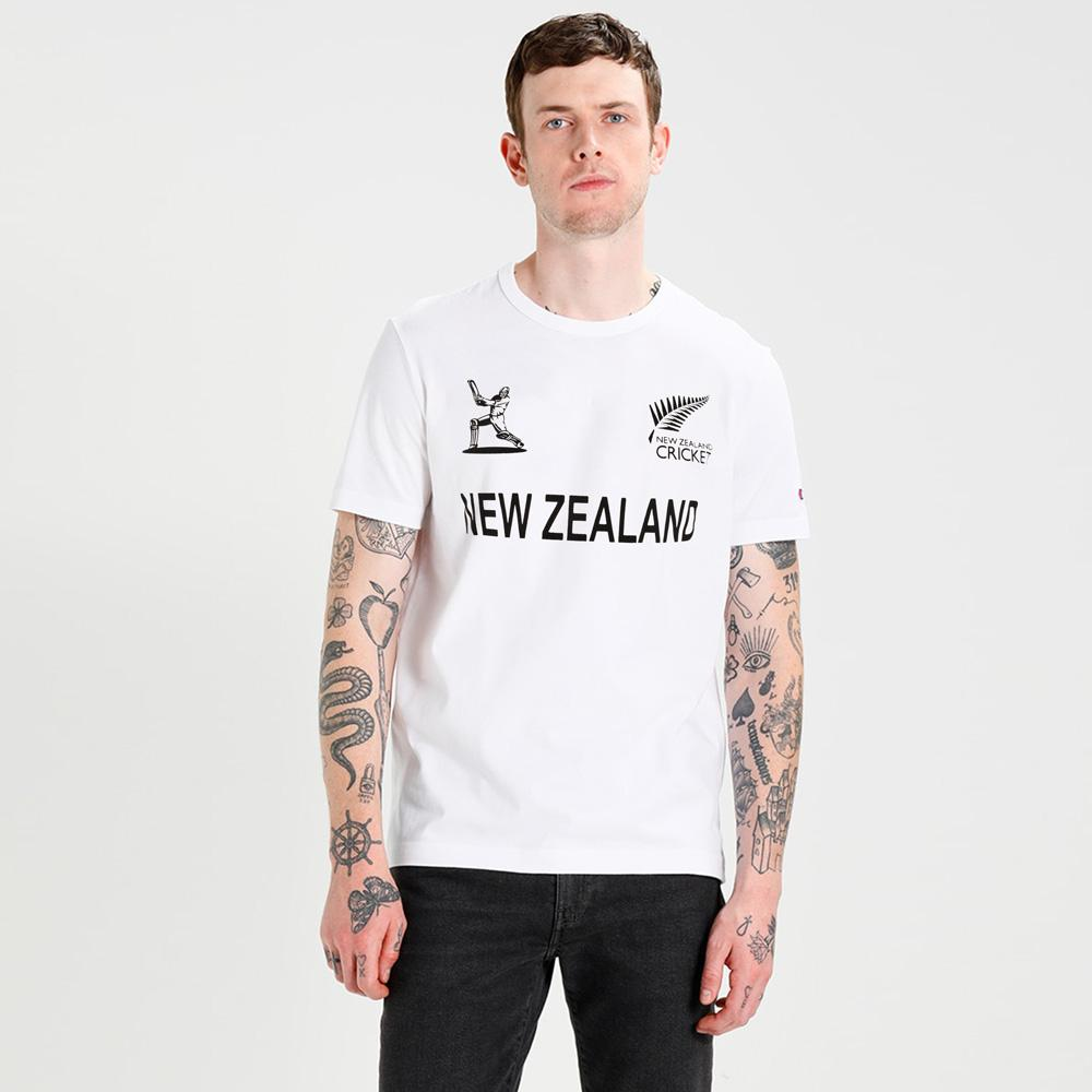 LE New Zealand Cricket Men's Crew Neck Tee Shirt Men's Tee Shirt Image White XS