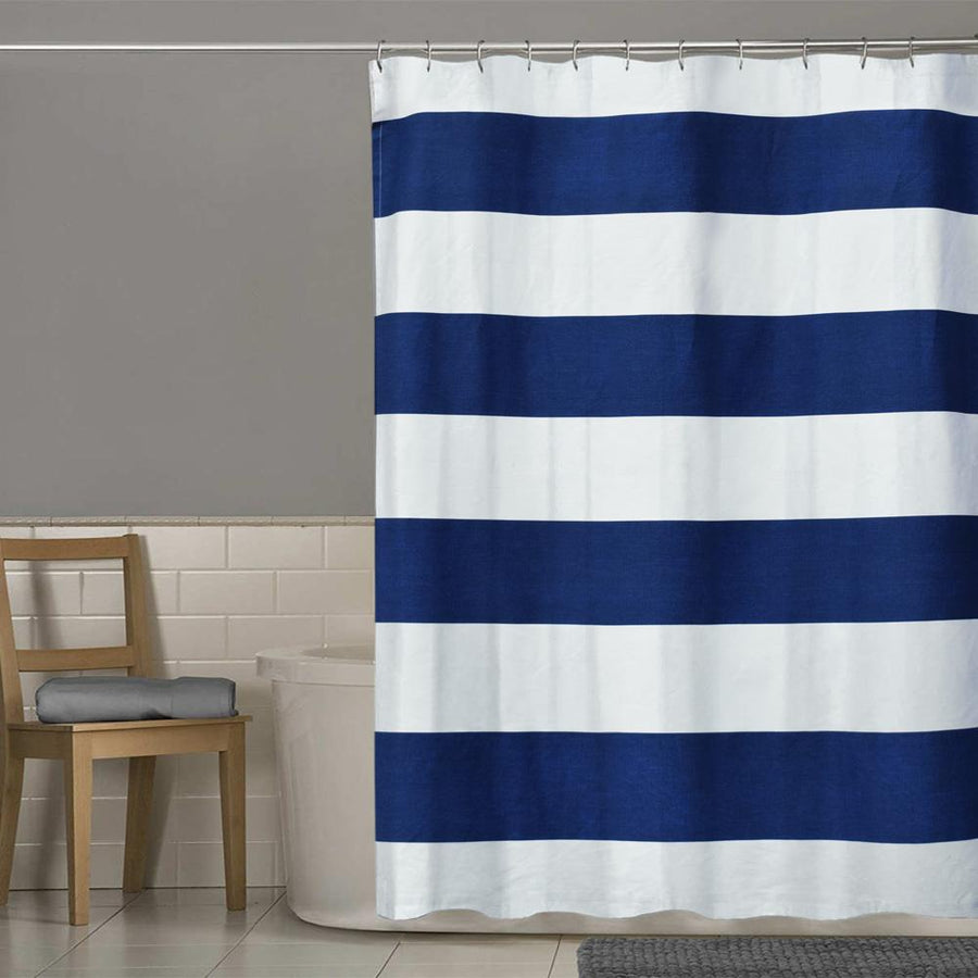 TMH Contrast Stripes Design One Piece Washroom Curtain