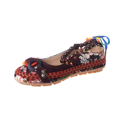 Guanglixieye Floral Printed Canvas Slip Ons Women's Shoes Sunshine China Burgundy EUR 35