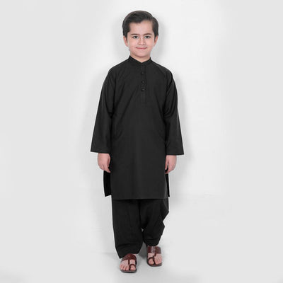 Velvour Boy's Alabaster Stitched Kurta Shalwar Boy's kurta set YTC Black 1-2 Years